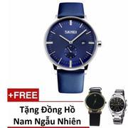 Đồng hồ nam dây da Skmei 9083 (Xanh) + Tặng 1 đồng hồ Ngẫu nhiên gv005 Ge129