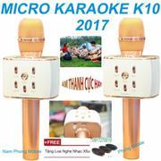 Micro Hát karaoke bluetooth Micgeek K10 Âm Thanh Cực Hay (Vàng) Hàng Nhập Khẩu + Tặng Loa nghe nhac ...