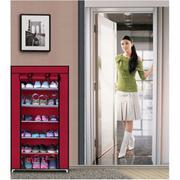 Tủ vải để giày 7 tầng 6 ngăn Clever Mart + Tặng dụng cụ đánh bóng giày Seiwa-Pro (Đỏ đô)