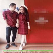 Sét áo đôi sơ mi nam và váy chữ A nữ màu đỏ caro thời trang ATD105 -  ATD105bnewqwww