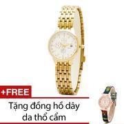 Đồng Hồ Nữ Dây Kim Loại Bewatch (Vàng) + Tặng Kèm 1 Đồng Hồ Dây Da Thổ Cẩm