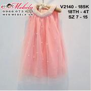 V2140 Váy voan hồng đính ngọc trai cho bé 18th-4t, sz 7-15