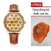 Đồng hồ nữ Julius JU1029 (Nâu) + Đồng hồ baby xinh xắn