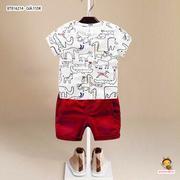 Set áo thun hình thú quần kaki lưng thun dễ thương cho bé trai 3 - 10 Tuổi BTB16214