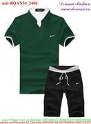 Bộ đồ thể thao nam quần short áo cổ trụ năng động BQAN34