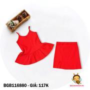 Set áo hai dây bèo kèm váy xẽ tà dễ thương cho bé gái 1 - 10 tuổi BGB116880