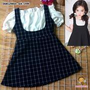 Sét áo bẹt vai croptop váy yếm kaki dễ thương cho bé gái 1 - 8 tuổi DGB129854