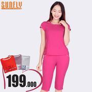 Bộ lửng mặc nhà phối viền ren Sunfly (Hồng sen) SP1308