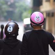 Bộ mũ bảo hiểm tình nhân Gấu & Thỏ (Nâu)