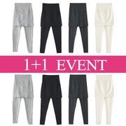 [1+1] Quần leggings bầu dài kiểu váy ngắn màu thời trang