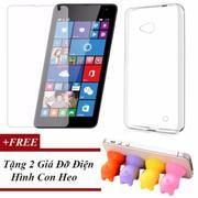 Combo Ốp Lưng Dẻo Silicon Dành Cho Microsoft Lumia 640 + Kính Cường Lực + Tặng 2 Giá Đỡ Điện Thoại H...