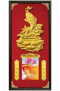 Lịch Khung Gỗ Nền Nhung Kim Ngư Phú Quý