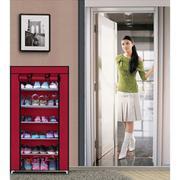 Tủ vải để giày đa năng 7 tầng 6 ngăn BenHome + Tặng dụng cụ đánh bóng giày Shoeshine (Đỏ đô)