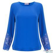 Áo dài tay phối ren Hến Boutique màu xanh coban - ĐN388