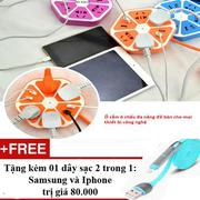 Ổ cắm điện hình trái cam với 4 cổng USB + Tặng 01 dây sạc điện thoại 2 trong 1 cho Androi và Iphone