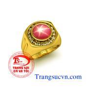 Nhẫn nam ruby sao vàng tây