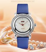 Đồng hồ nữ thời trang mặt gắn đá Skmei 35mm (Xanh)