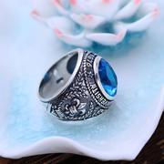 Nhẫn bạc nam đá xanh dương hadosa
