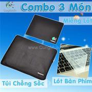 Combo 3 món laptop: Túi chống sốc, dán bàn phím và lót chuột