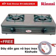 Bếp ga dương Rinnai RV-360(GM)N (Đen) + Tặng dây dẫn gas inox Koshudo