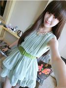 Váy đầm xếp ly màu xanh