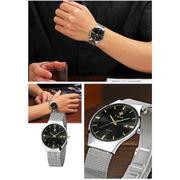 Đồng hồ nam dây thép không gỉ cao cấp Wwoor 5382 (Dây trắng - Mặt đen) + Tặng kèm voucher bảo hành I...