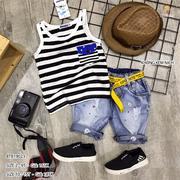 [SIZE ĐẠI] Set áo sát nách túi kiểu quần jean wash phun sơn dễ thương cho bé trai 10 - 15 Tuổi BTB19...