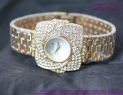 Đồng hồ inox nữ hình cánh hoa đính hạt sang trọng DHI136