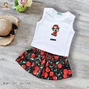 Set áo thun sát nách thêu bé gái quần giả váy kaki nơ dễ thương cho bé gái 3 - 11 tuổi BGB117507