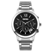 Đồng hồ nam thời trang dây kim loại SKMEI 9097 (Đen) + Tặng kèm vòng tay phong thủy