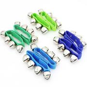 Pair of Metal Jingle Bells Bracelet Wrist Tambourine Nylon Fastener Tape Percussion Musical Toy for ...