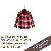 Little Maven-Áo sơ mi dạ kẻ đỏ đậm 06T