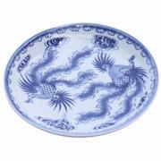 Đĩa đựng đồ ăn vẽ Phượng - Gốm sứ Bát Tràng - men lam cổ - đường kính 16 cm(Xanh dương nhạt)
