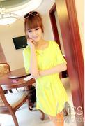 Váy đầm voan cắt viền màu vàng