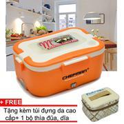 Hộp cơm cắm điện 3 ngăn inox Chefman (Cam) + tặng kèm túi đựng da cao cấp