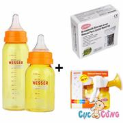 Bộ máy hút sữa Wesser bằng tay + Túi trữ sữa Unimom + Bình sữa wesser 60ml + 140ml + 250ml