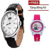 Đồng hồ nam SKMEI SK005 dây da cổ điển chống nước (đen mặt trắng) + Đồng hồ bé gái cao cấp
