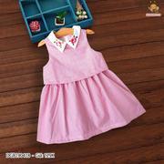 Đầm kate tầng cổ thêu hoa dễ thương cho bé gái 1 - 8 tuổi DGB190418