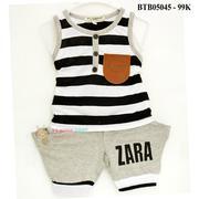 Bộ sát nách ZARA trắng sọc lớn nhỏ quần xám dễ thương cho bé 1 - 7 Tuổi BTB05045