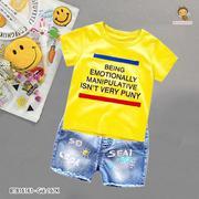 Set áo thun in chữ quần jean wash lưng thun dễ thương cho bé trai 1 - 8 Tuổi BTB16161