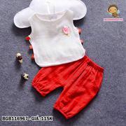 Bộ vải linen mỏng đính bông rời dễ thương cho bé gái 1 - 8 tuổi BGB116967