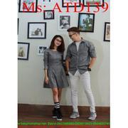 Sét đồ đôi áo sơ mi và đầm xòe dài tay caro thời trang ATD139