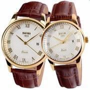 Đồng hồ đôi nam nữ dây da Skmei 9058 và 1853 - Nâu Mặt trắng viền trắng