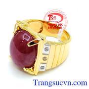 Nhẫn nam vàng 14k Ruby