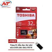 Thẻ nhớ MicroSDHC Toshiba Exceria U3 32GB 90MB/s kèm Adapter (Đỏ) + Tặng 01 đầu đọc thẻ nhớ MicroSD ...
