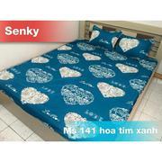 Bộ ga giường cotton hoa tim xanh Tmark