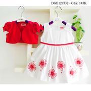Đầm kate bông kèm áo khoác dễ thương cho bé gái 1 - 8 tuổi DGB129530
