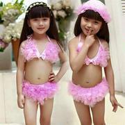 Áo bơi bikini ren hồng có mũ size 1-6 tuổi