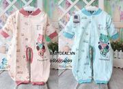 Bộ áo liền quần cho bé từ 0-9 tháng với thiết kế thuận tiện cho mẹ cho bé tè và thay tã bé